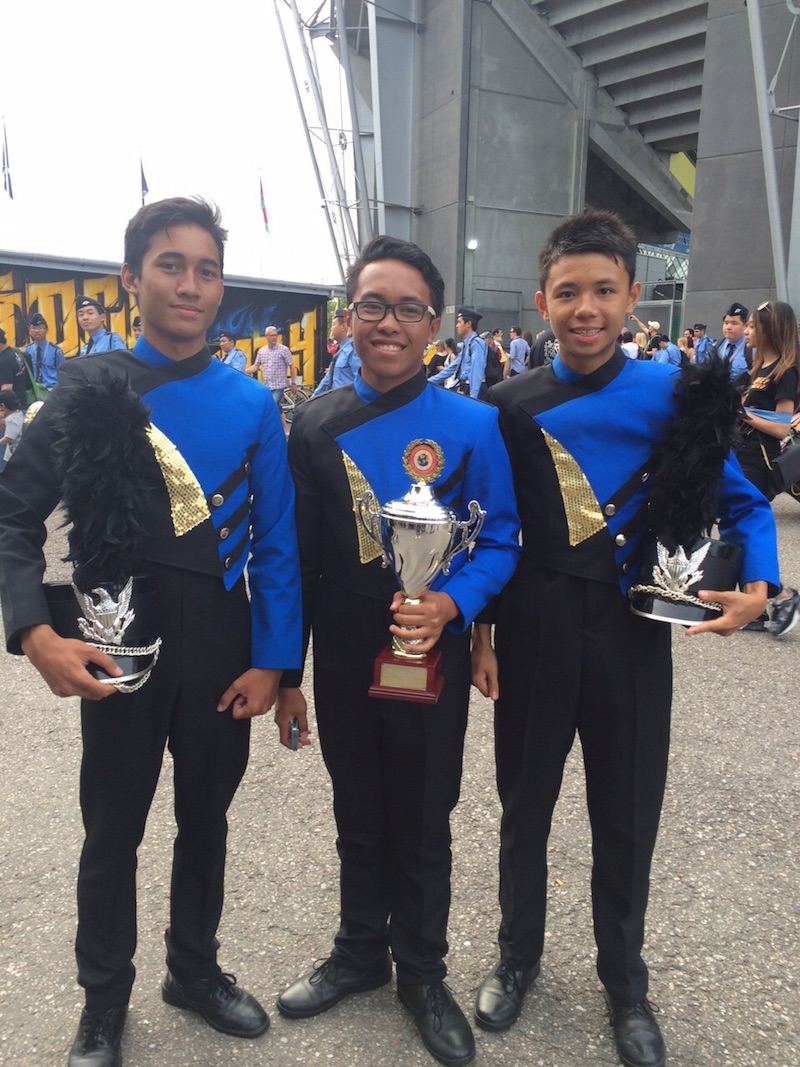 Members of the VICC Band with their trophy after taking third place in the Show Band/Tattoo. — Picture courtesy of VICCB parents