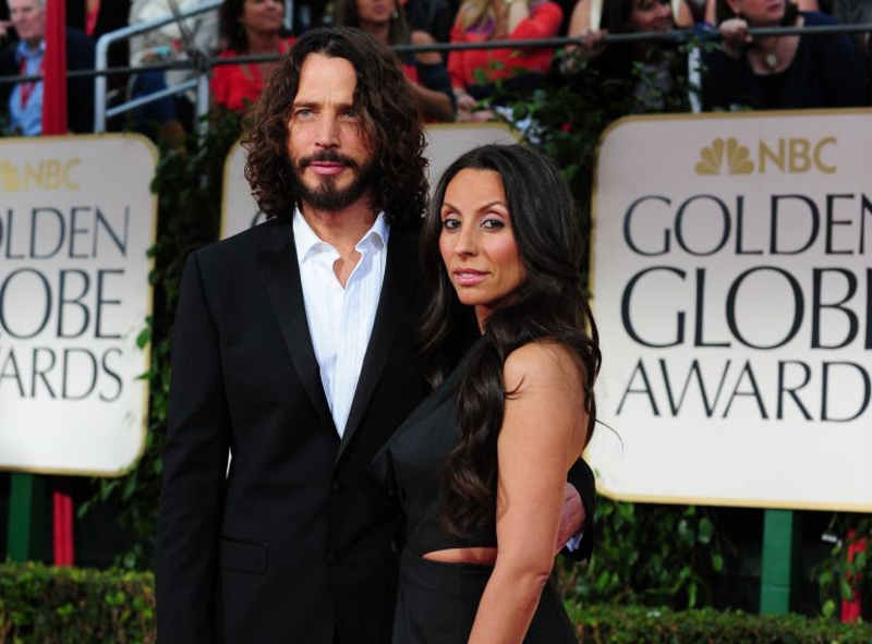 Musician Chris Cornell (left) and wife Vicky Karayiannis at the Golden Globe Awards. — AFP pic