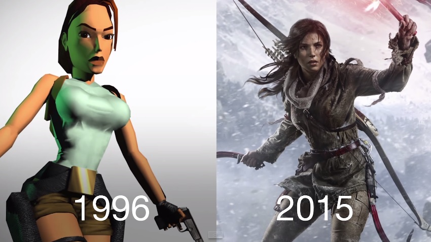 The first version of the video game character Lara Croft (left), the main character in the Tomb Raider series, compared to the updated look of the character in its latest game is shown in this screenshot taken from the BuzzFeedBlue YouTube video.