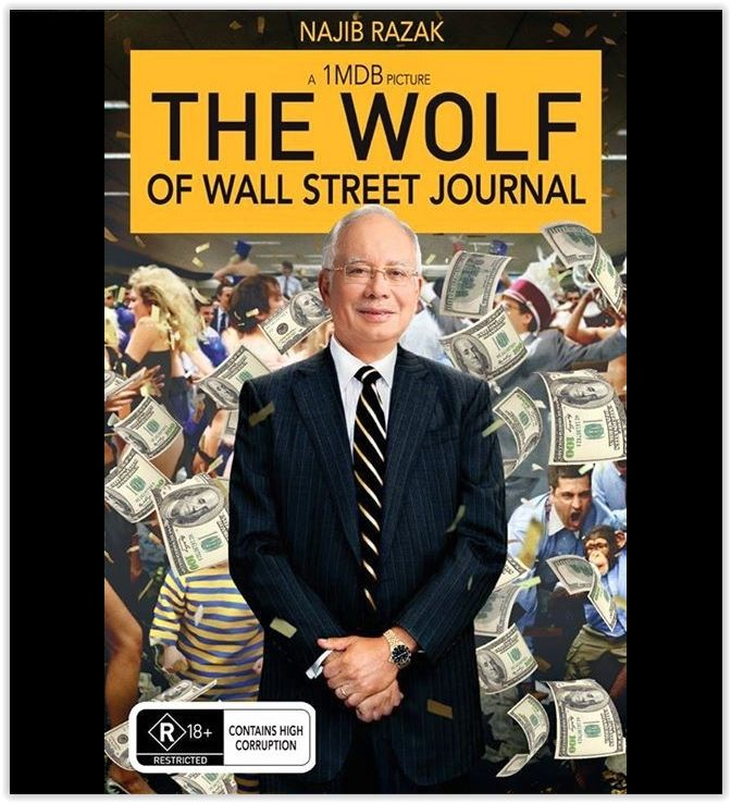 Popular movie titles lampooned under #1MDBMovies included 'The Wolf of Wall Street Journal'. — Facebook screencap