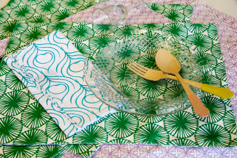 Colourful, silk screen-printed napkins from Nala Designs gives a touch of whimsy to your table settings.