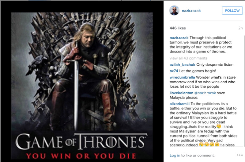 In an Instagram post, Datuk Seri Nazir Razak warned about the country sliding into 'a game of thrones' scenario amid a Cabinet purge.