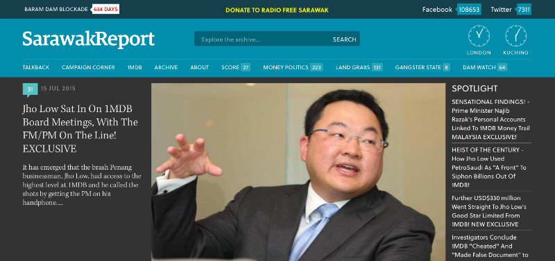 A screenshot shows the SarawakReport homepage. Some visitors to the website on July 19, 2015 were greeted by a placeholder informing them that the page could not be found.