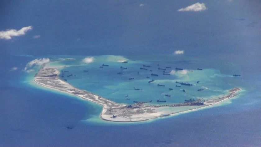 Chinese dredging vessels are purportedly seen in the waters around Mischief Reef in the disputed Spratly Islands in the South China Sea in this file still image. China and Asean will discuss a code of conduct related to the highly-disputed waters. — File pic