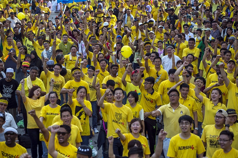 Participants shout slogans during a rally organised by pro-democracy group Bersih 2.0 near Dataran Merdeka in Kuala Lumpur. — Reuters pic