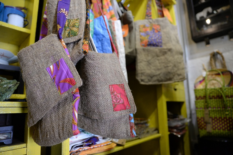 Shop Howard's latest line of products, jute and batik bags.