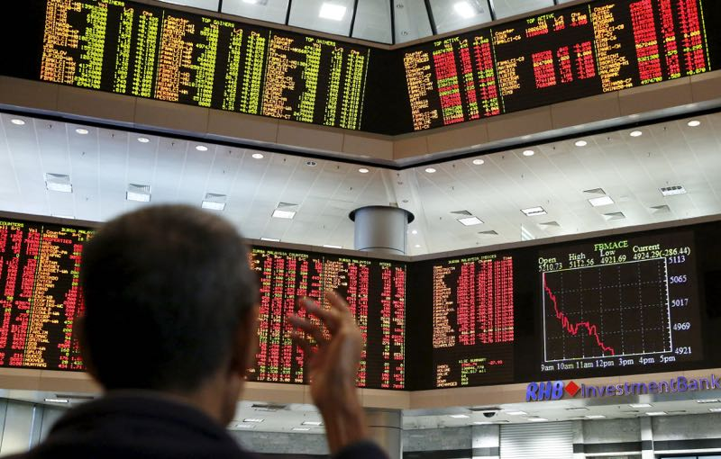 At 5 pm, the benchmark FBM KLCI jumped 18.58 points to 1,588.45 from 1,569.87 at yesterday's closing. — Reuters pic