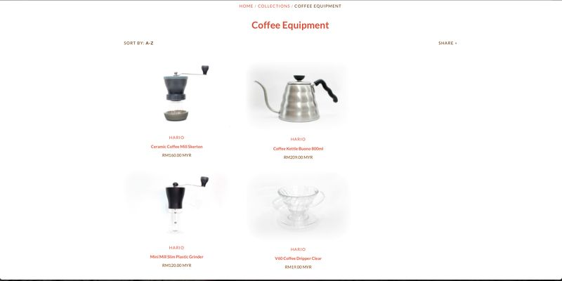 The website offers coffee equipment to complete your home brewing collection. — Picture courtesy of Bean Shipper