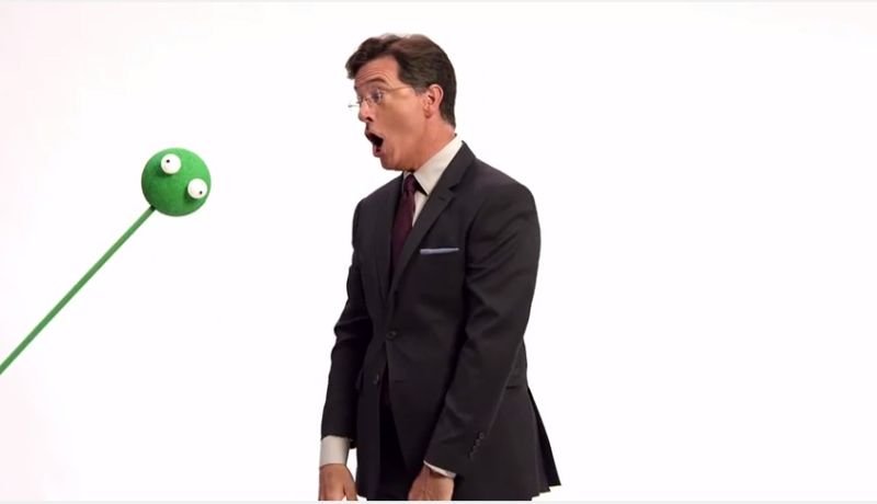 Colbert hilariously acts as though 3D and CGI effects are going to be added.— YouTube screencap/CBS