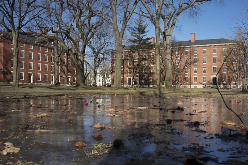 Buildings in Harvard Yard are reflected in frozen puddle at Harvard University in Cambridge, Massachusetts January 20, 2015. — Reuters pic