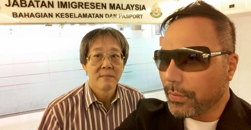Datuk Seri Khairuddin Abu Hassan (right) is seen with his lawyer, Matthias Chang, after the Immigration Department barred the former Umno leader from leaving the country, September 18, 2015. — Picture courtesy of Khairuddin Abu Hassan's Facebook page