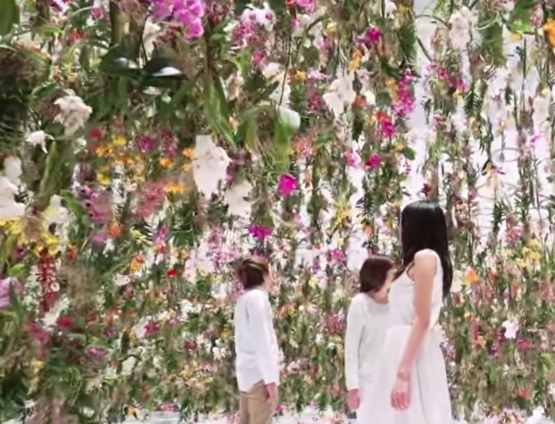 Image of the Floating Flower Garden from the YouTube video on the Maison & Objet tradeshow for design and decoration.