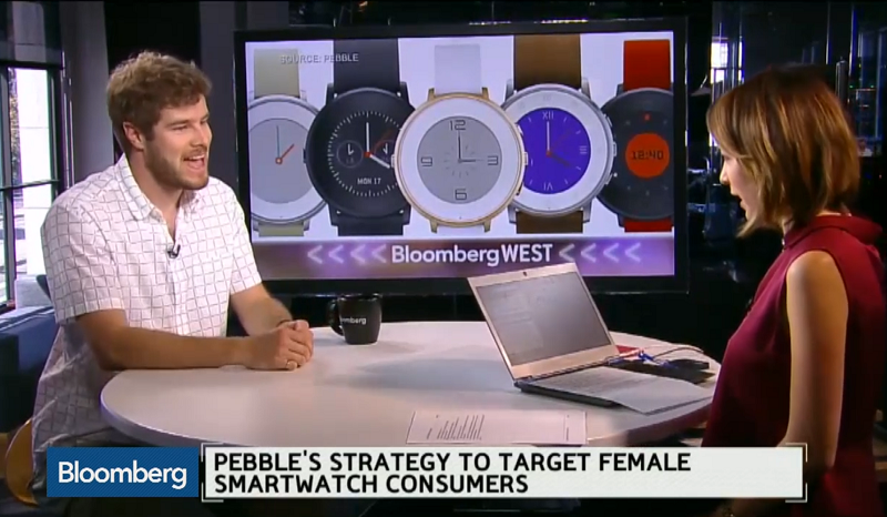 A screen capture of the video shows Pebble Technology's chief executive officer Eric Migicovsky (left) explaining the company's new smartwatch design.
