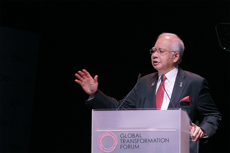Prime Minister Datuk Seri Najib Razak deliver his keynote address during Global Transformation Forum at KL Convention Centre in Kuala Lumpur. — Picture by Yusof Mat Isa