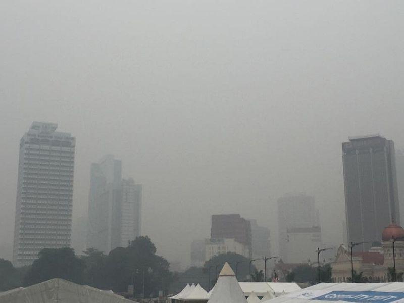 File picture shows the  haze near Dataran Merdeka. -- File pic