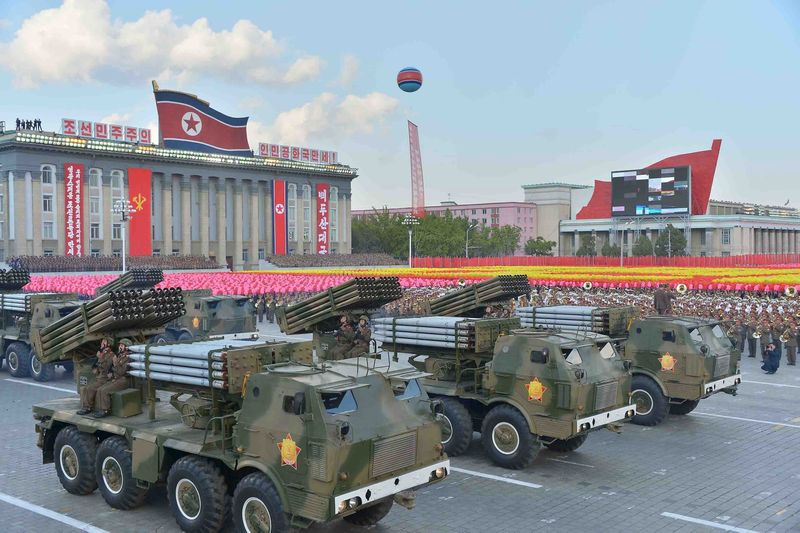 In a huge military parade in October North Korea showed its so-called long-range ballistic missiles loaded with miniaturised nuclear warheads. — Reuters pic
