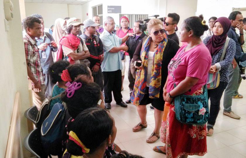 Family members of the missing orang asli school children are seen at the Gua Musang Hospital, Kelantan, October 8, 2015. — Bernama pic