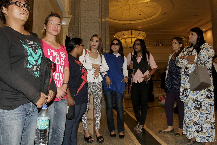 Supporters of transgender rights group Justice for Sisters are pictured at the Palace of Justice, Putrajaya, October 8, 2014. — Picture by Yusof Mat Isa
