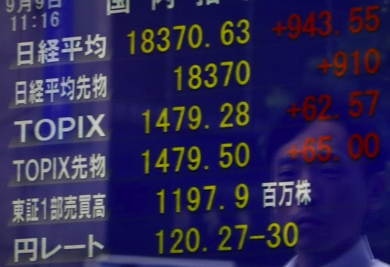 A pedestrian is reflected on a an electronic board showing the Japan's Nikkei average (top) and other market indices including the exchange rate between the Japanese yen against the US dollar in Tokyo September 9, 2015.— Reuters pic