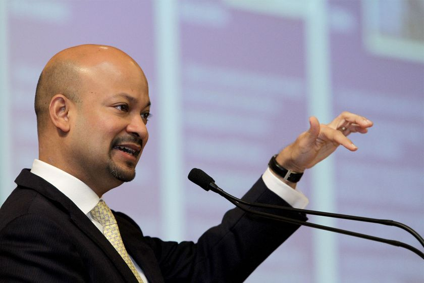 1MDB President and Group Executive Director, Arul Kanda Kandasamy speaks during at a public forum on 1MDB at the PWTC in Kuala Lumpur, November 14, 2015. — Picture by Yusof Mat Isa