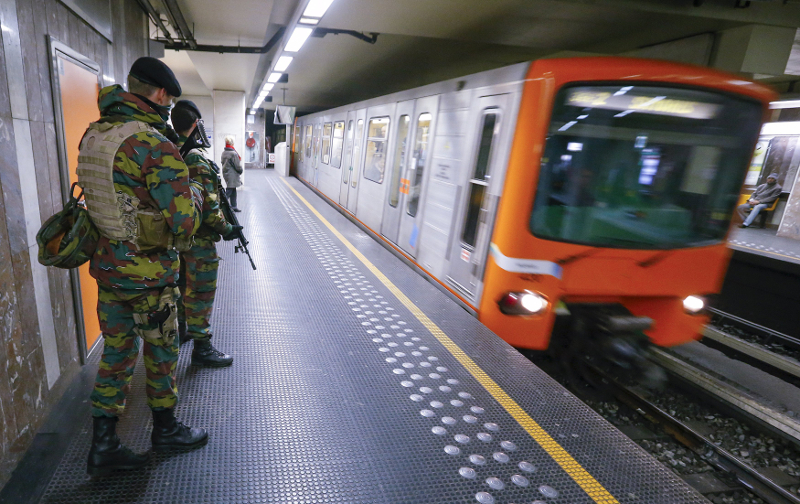 File picture of Belgian soldiers patrolling in a subway station in Brussels, Belgium, November 25, 2015. — Reuters pic