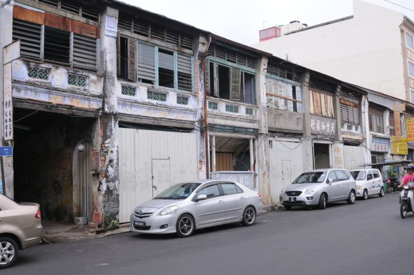 These six shophouse along Kimberly Street will be the pilot project to relocate traditional trades that have been evicted in the heritage zone, November 30, 2015. — Picture by K.E. Ooi.