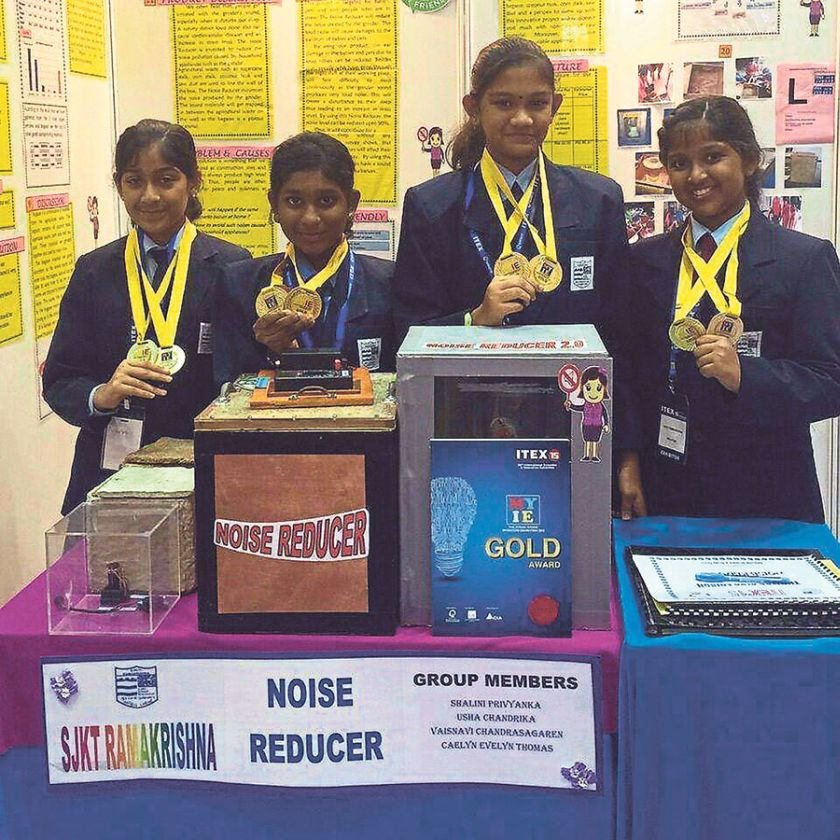 The recipients of six international awards and a gold medal at the 3rd Hong Kong International Student Innovative Invention Contest are (from left) Usha, Caelyn, Vaishanavi and Shalini. — Malay Mail pic