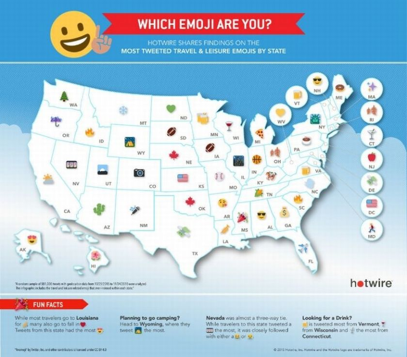 A new chart maps the most popular travel emoji in each state. — Afp-Relaxnews pic
