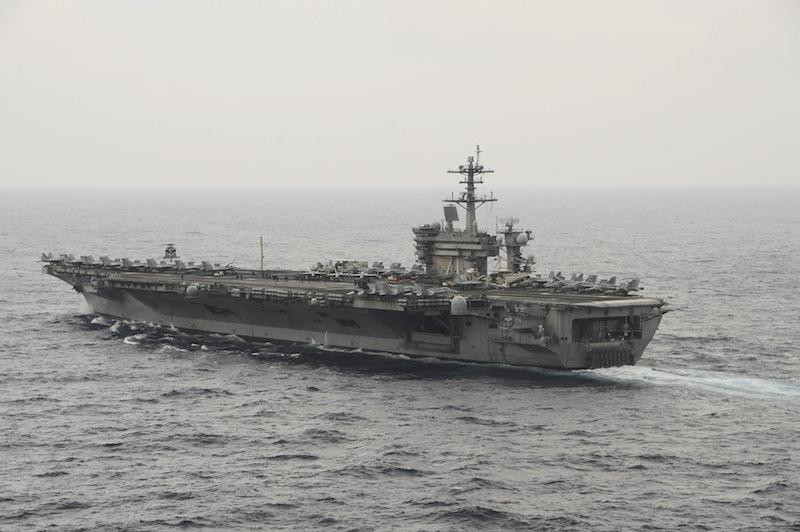File picture of the aircraft carrier USS Theodore Roosevelt (CVN 71) transiting the South China Sea in this US Navy picture taken October 29, 2015. — Reuters pic