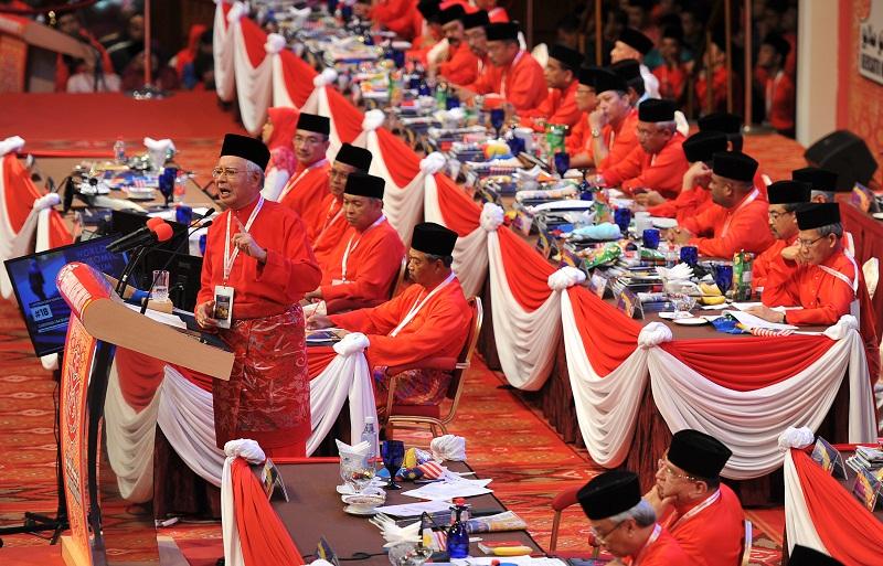 Umno president Datuk Seri Najib Razak speaks during the Umno General Assembly 2015 in Kuala Lumpur, December 10, 2015. — Bernama pic