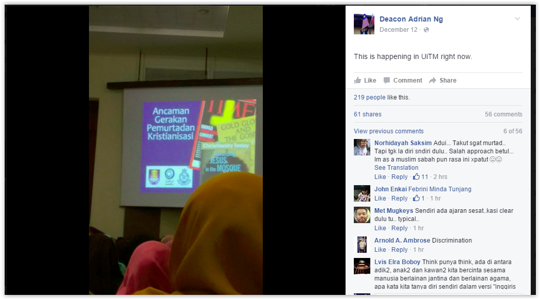 Adrian Ng, a deacon from the Malacca-Johor Catholic diocese, received a photo from one of the participants who attended the lecture. — Screenshot from Facebook/Deacon Adrian Ng