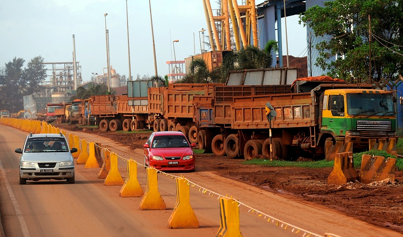 Lorries carrying bauxite stop at the side of the road near the Kuantan Port, in Pahang, January 2, 2016. — Bernama pic