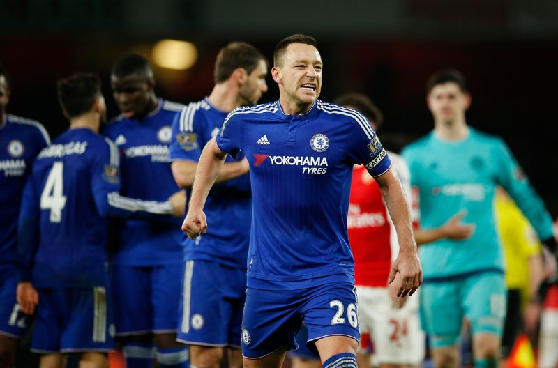 Chelsea's John Terry celebrates at the end of the match against Arsenal in the English Premier League at the Emirates, January 24, 2016. — Reuters pic
