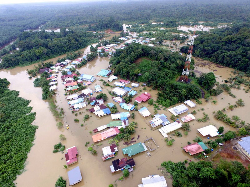 An overhead view of the flood situation on Feb 21, 2016, in Kampung Endap, Kota Samarahan, about 30 km from Kuching, Sarawak. — Bernama pic