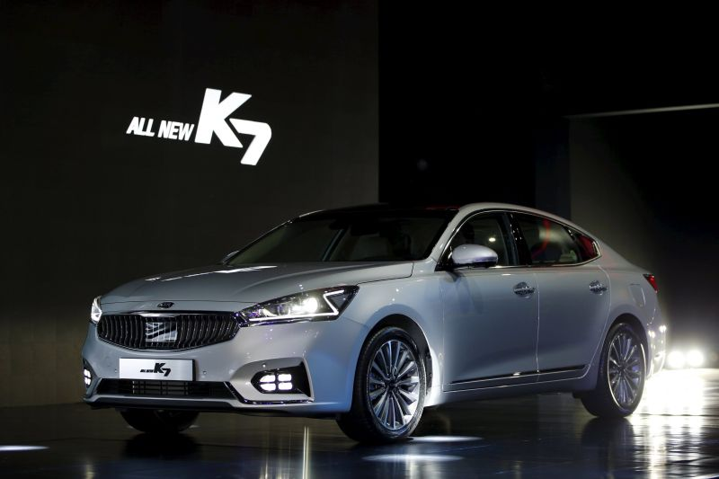 Fresh off Kia Motors' production line, the K7 unveiled in Seoul January 26, 2016, may yet not quite be hip enough for the younger market that the South Korean builder is seeking to capture. — Reuters file pic