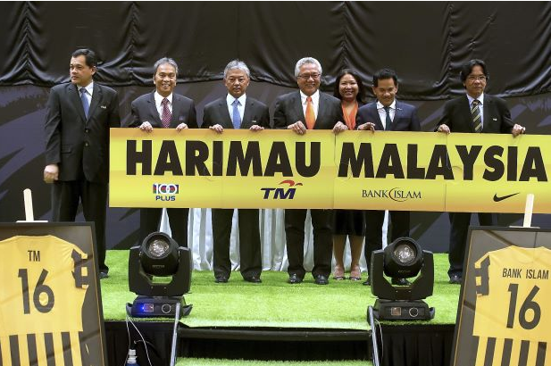 File picture shows Tengku Mahkota Pahang Tengku Abdullah Sultan Ahmad Shah, then-president Football Association of Malaysia (third left) with sponsors and officials at the introduction of the sponsors February 2, 2016. — Bernama pic