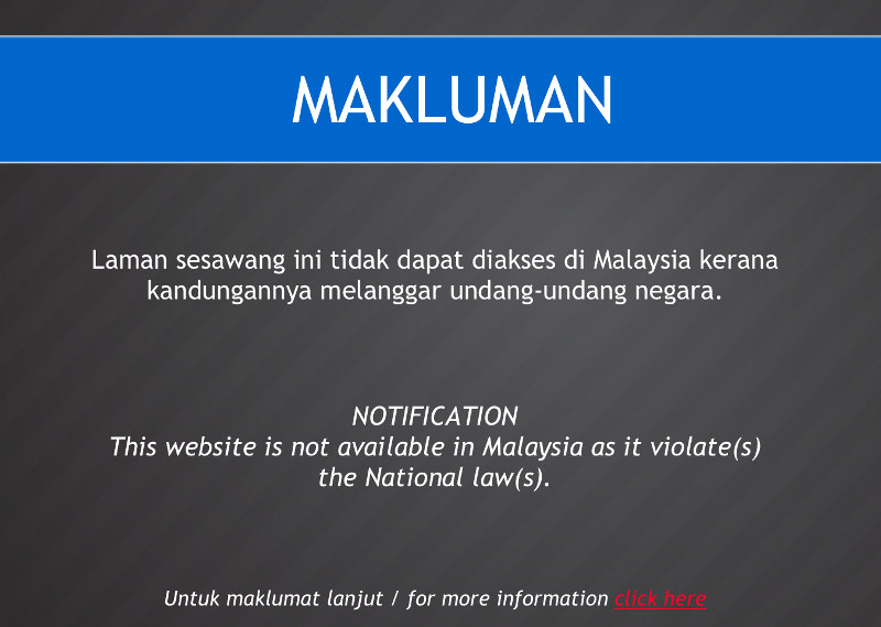 Screenshot shows the MCMC notice being displayed when attempting to access news portal The Malaysian using Celcom network.