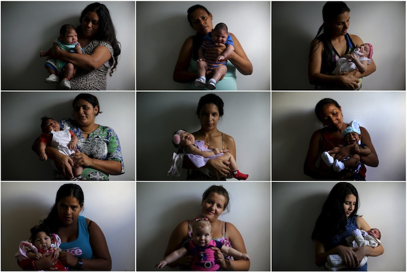 Mothers posing with their babies who were born with microcephaly, at Pedro I hospital in Campina Grande are shown in this combination photo in Brazil February 18, 2016. — Reuters pic