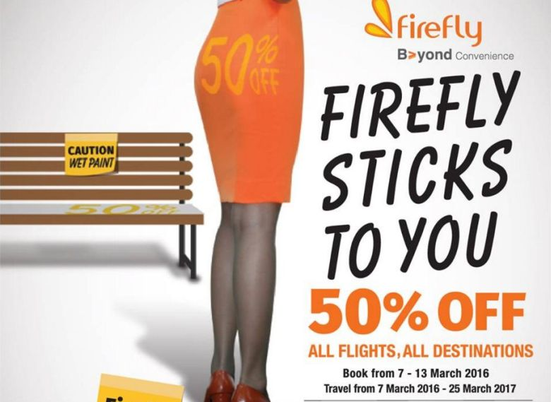 Firefly's first advertisement posted along with the message 'Come grab it real fast' showed a woman in the airline's corporate orange colour standing beside a bench that had a signage that said '50%' on it.