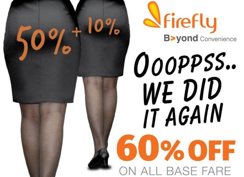 Facebook users rained criticism on Firefly Airlines this week after the airline featured women's bottoms in their advertisements.