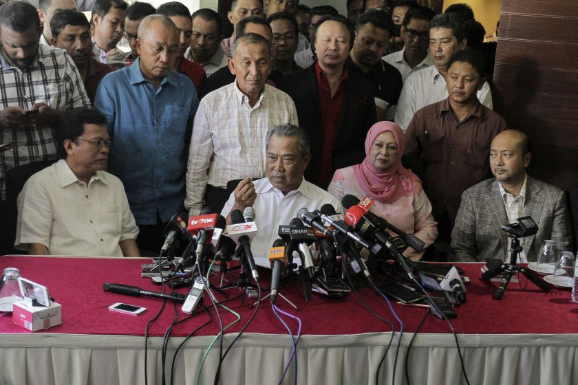 Muhyiddin (centre) said he had no part in the plot to oust Najib as alleged by Minister in the Prime Minister's Department Datuk Seri Azalina Othman Said. — Picture by Yusof Mat Isa