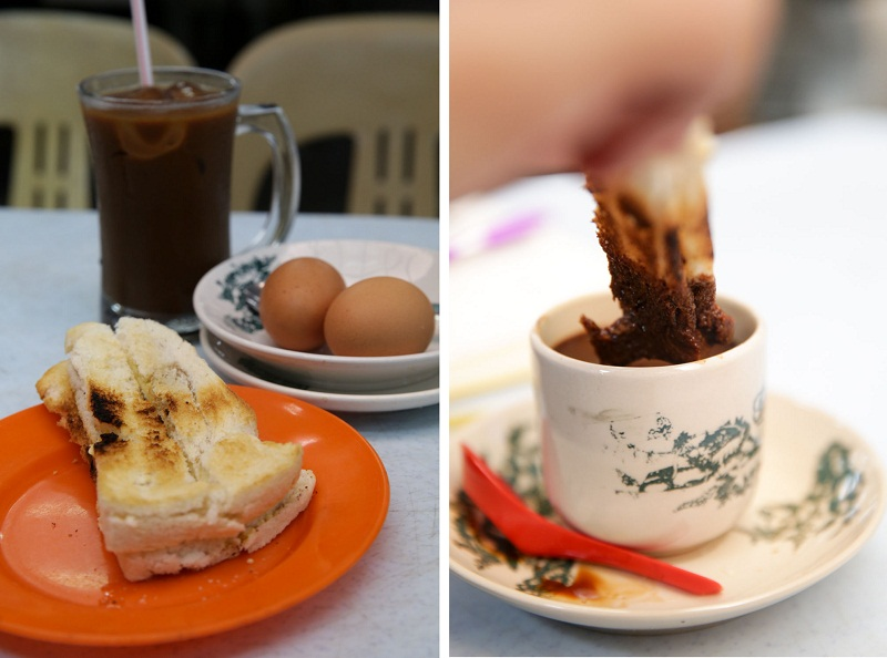 The breakfast set consists of kaya toast, soft boiled eggs and your choice of drink for RM4.50 (left); enjoy your toast by dunking it into coffee.