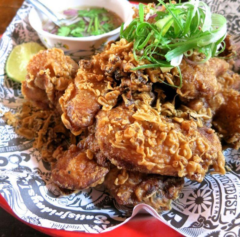 Bird Bird's Bangkok Fried Chicken, aromatic batter, green chilli nam jim. — TODAY pic