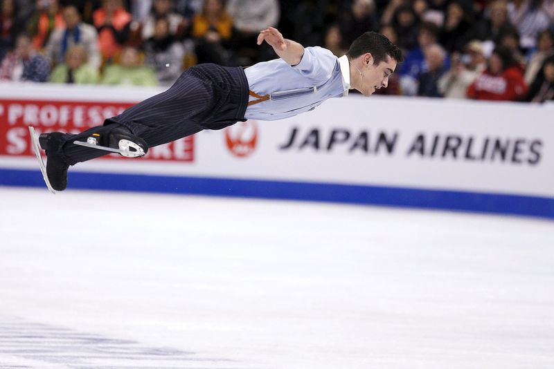 Javier Fernandez of Spain during the men's free skate programme of the World Figure Skating championships in Boston, April 1, 2016. — Reuters pic