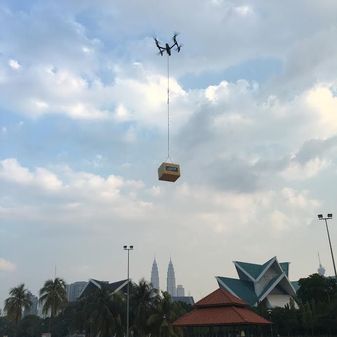 The unmanned drone in the skies over the heart of Kuala Lumpur.