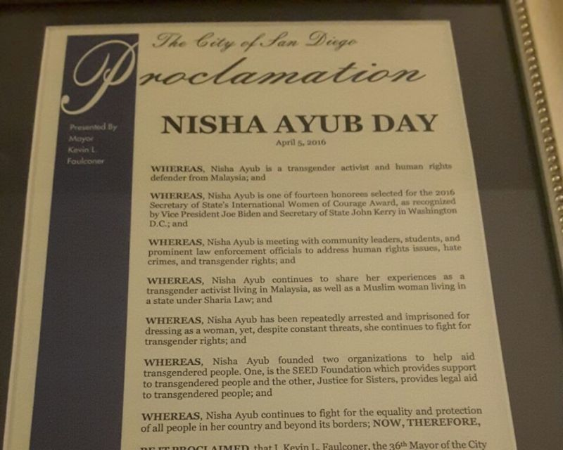 A letter of proclamation stating that San Diego has named April 5 'Nisha Ayub Day'. ― Picture courtesy of Nisha Ayub