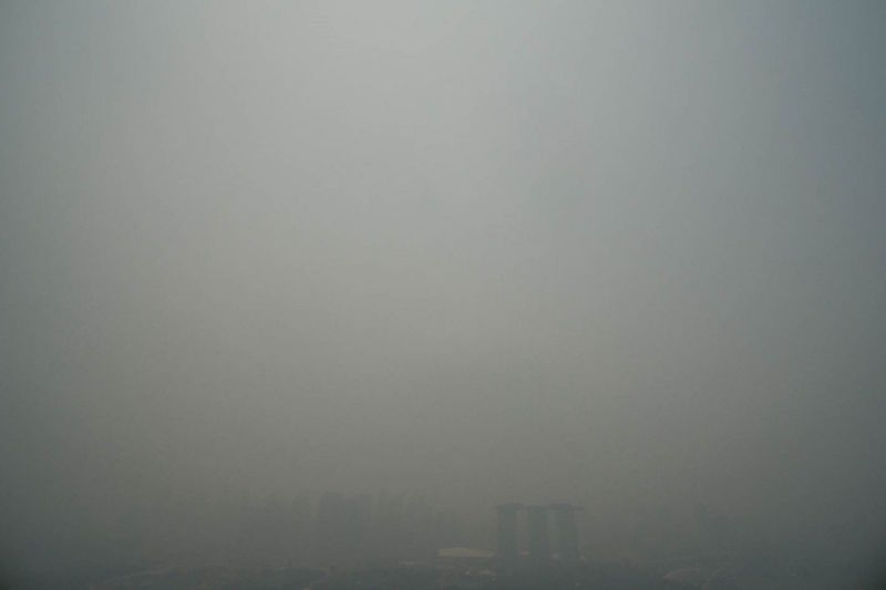 The Marina Bay Sands area shrouded in haze in September last year. — TODAY file pic
