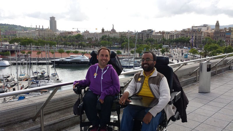 Srin and his friend Martyn Sibley in Barcelona. The duo first started an online magazine 'Disability Horizons' before Accomable. — Handout via Today