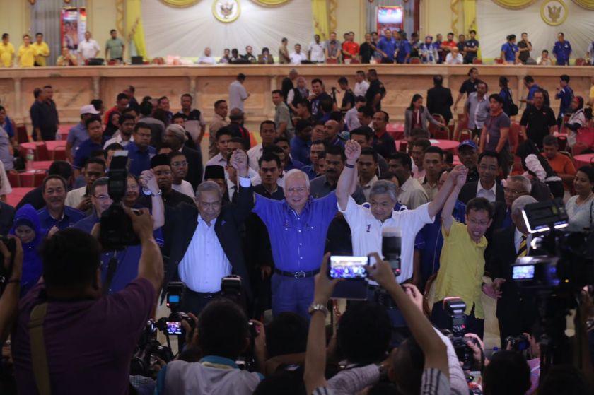 Sarawak Chief Minister Tan Sri Adenan Satem, Prime Minister Datuk Seri Najib Razak and Deputy Prime Minister Datuk Seri Ahmad Zaid Hamidi celebrate with other BN leaders in Kuching May 7, 2016. — Picture by Ahmad Zamzahuri