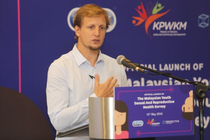 Marketing director of Reckitt Beckinser Malaysia and Singapore Matias Caride speaks at the launch of the Malaysian Youth Sexual and Reproductive Health survey in Kuala Lumpur. ― Picture by Choo Choy May